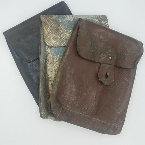 Romanian leather two cell mag pouch in battle field pick up condition