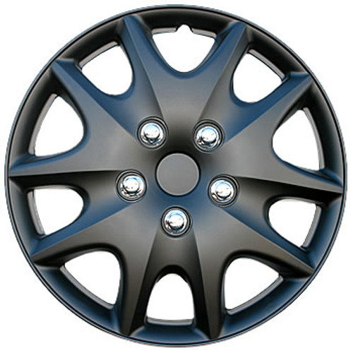 Black Wheel Cover -Matte Black 14 inch Hubcap Multi-Spoke Chrome Simulated Lugnuts