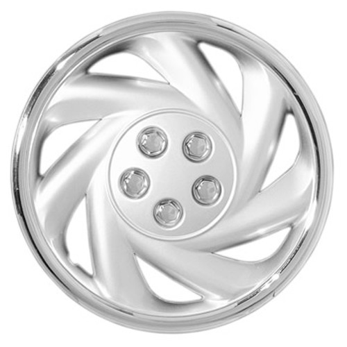 """New aftermarket 14"""" hubcap beautiful 14"""" wheel cover silver finish and chrome outer trim and lugnuts"""