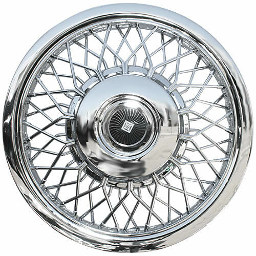 """14"""" Chrome Spoke Hubcap Aftermarket Vintage 80's Style Brand New 14 inch Wheel Cover with Simulated Center Cap"""