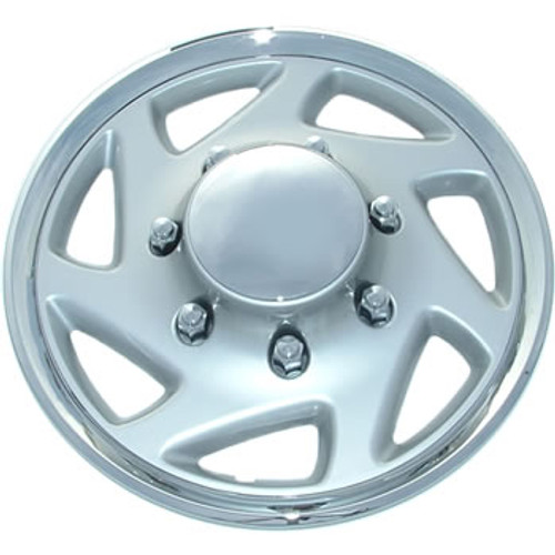 16 inch Wheel Cover Silver Finish with Chrome Trim and Hubcap Cover