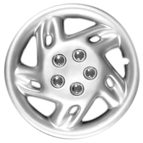 Custom Aftermarket 14 inch Hubcap Silver Finish 5 Spoke Wheel Cover with Simulated Chrome Lug Nuts