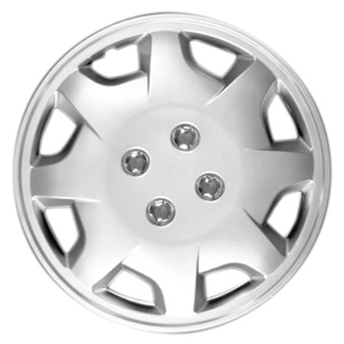 14 inch Hubcap Brand New with Silver Finish and Chrome Simulated Lug Nuts