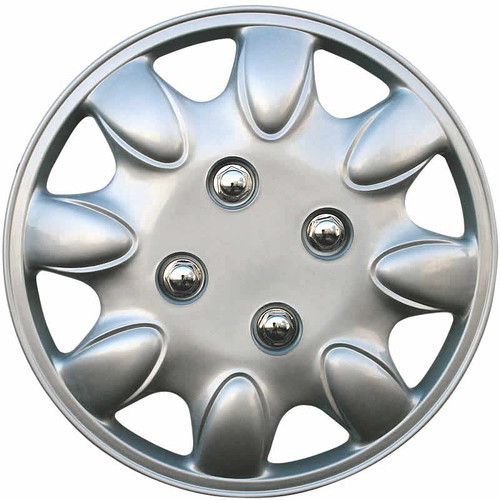 12 inch replacement hubcap with a silver finish. Fits wheels with (R-12) tires.