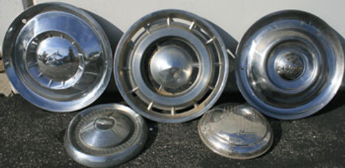 50's Decorative Old Vintage Hubcap Wheelcovers - Set of 5