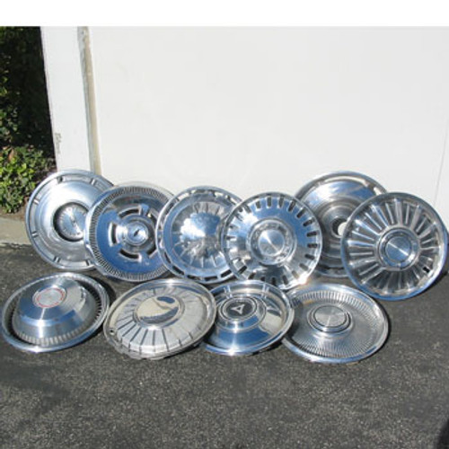 60's Old Vintage Wheel Cover Hubcaps - Decorative Set of 10