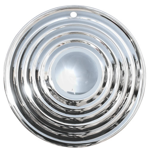 15 inch Solid Steel Chrome Ripple Disc, Starburst, Flying Saucer Hubcaps with All Metal retaining ring and clips