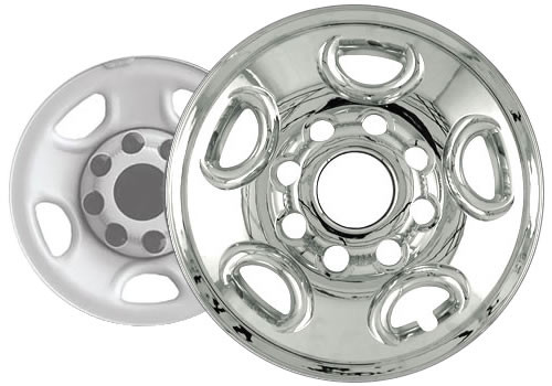 02'-03' Avalanche Wheel Covers Wheel Skins by CCI Chrome Finish for 16 inch Wheel