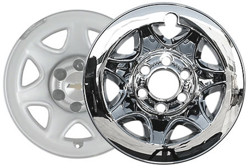 "2014 2015 2016 2017 2018 Silverado Wheel Skins 17"" Chromed CCI Wheel Cover for 6 Lug Wheel"