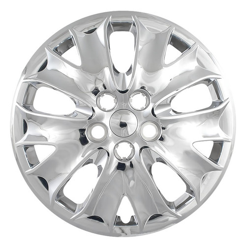 2013 2014 Ford Fusion hubcap with a chrome finish. Direct replacement Fusion wheel cover.
