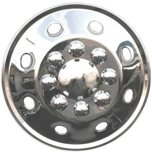 Front View 16.5 inch Universal Fit Motorhome Hubcap Polished Stainless Steel