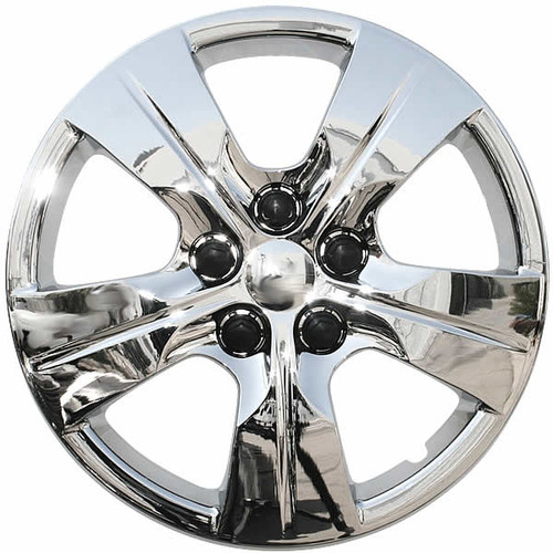 Years 16' 17' 18' Chevy Cruze wheel covers with a chrome finish.