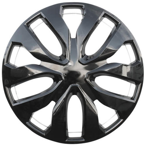 16 inch replacement black Hubcap and an all metal retention clipping system (both metal ring and wheel clips), so it will grip and stay on your wheel.