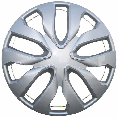 16 inch Replacement Hubcap with a Silver Finish and an all metal clipping retention system (both metal ring and wheel clips), so it will stay on your wheel.