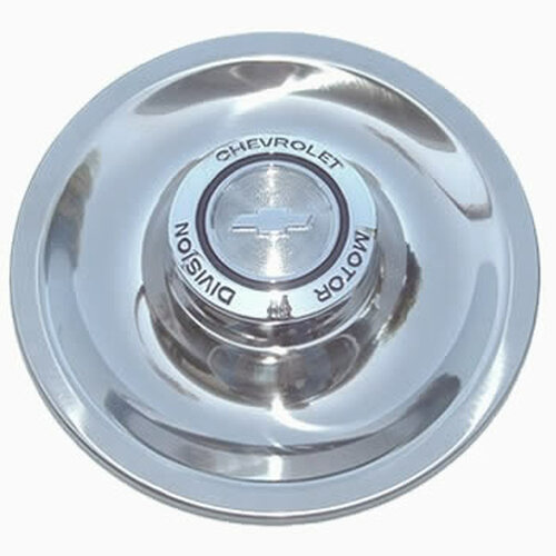67' Chevrolet Motor Division Rally Wheel New Vintage Center Caps Kit Stainless Steel Dish and Chromed Cast Iron Center