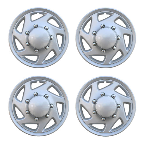 Set of 4 1997-2013 Ford Econoline Van Hubcaps Silver Finish Ford Van Replacement Wheel Covers