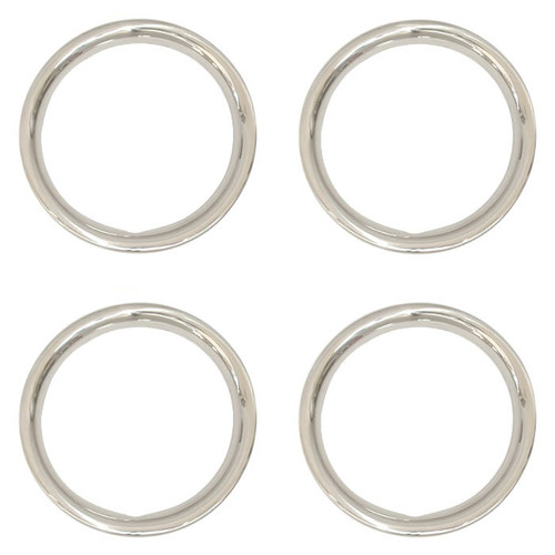 Set of Four - 14 inch Solid Steel 1-3/4 inch Deep Trim Rings, Brilliant Chrome Finish Beauty Rings