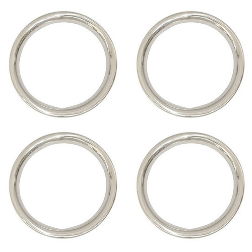 Set of 4, 15 inch Stainless Steel 1-3/4 inch Deep Trim Rings Polished to Mirror Finish Beauty Rings