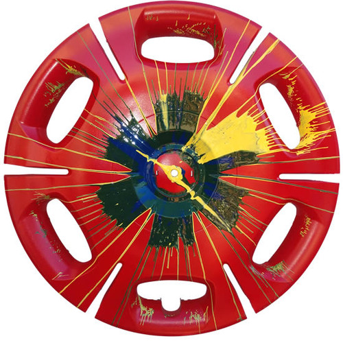 """Unique Vintage Hubcap Art Piece Called """"Time to Roll"""""""