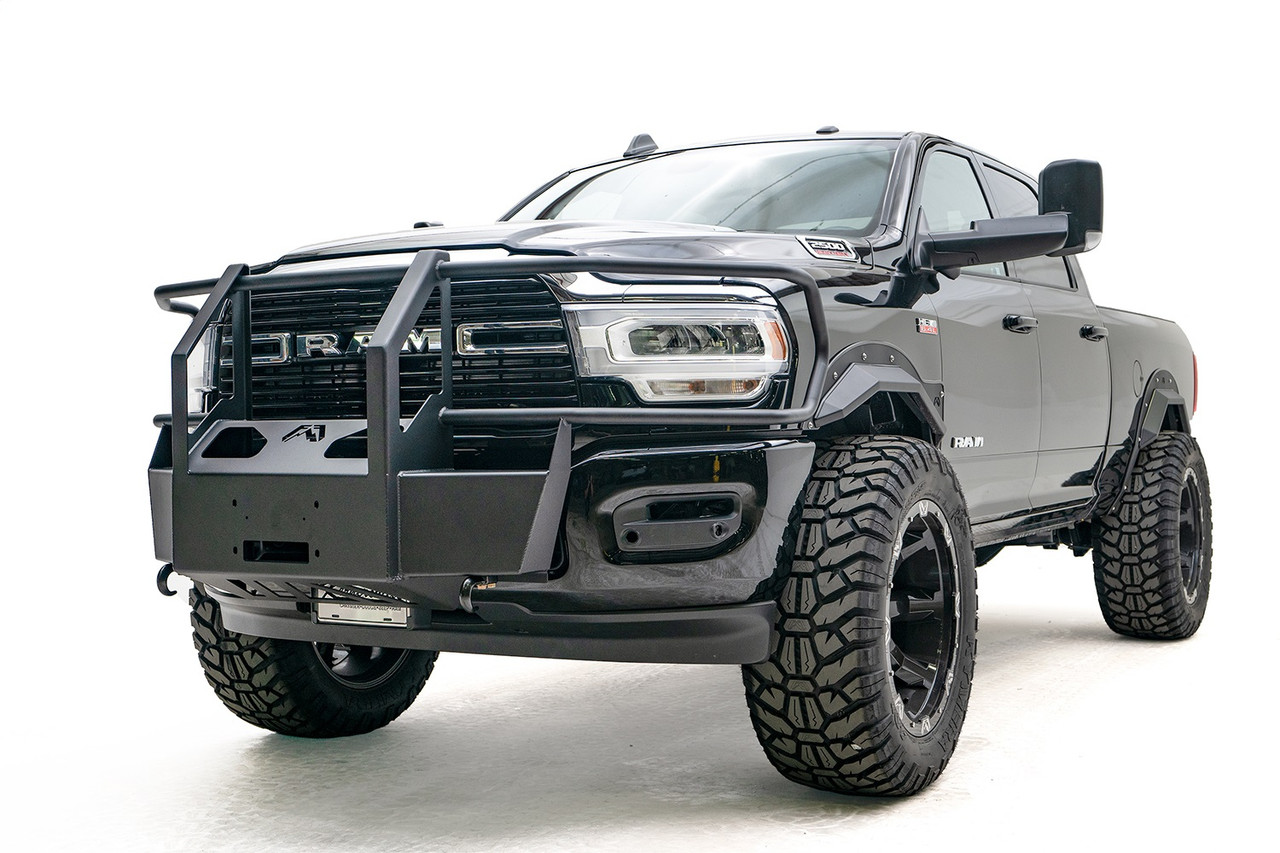 Runner Guard Fab Fours DR19-S4462-1 Matte Black 19-C Ram 2500//3500 New Body Style Steel Front Bumper