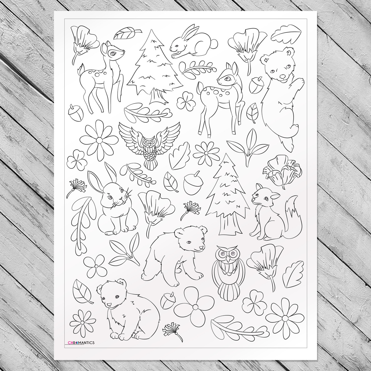 Forest Frenzy Giant Coloring Poster