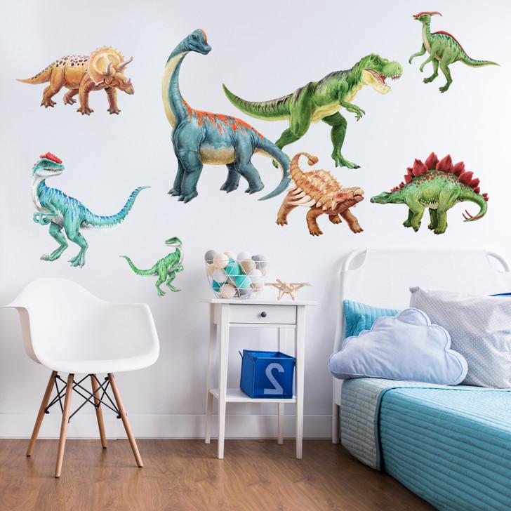 Dinosaur Watercolor Wall Decal Sticker Kit