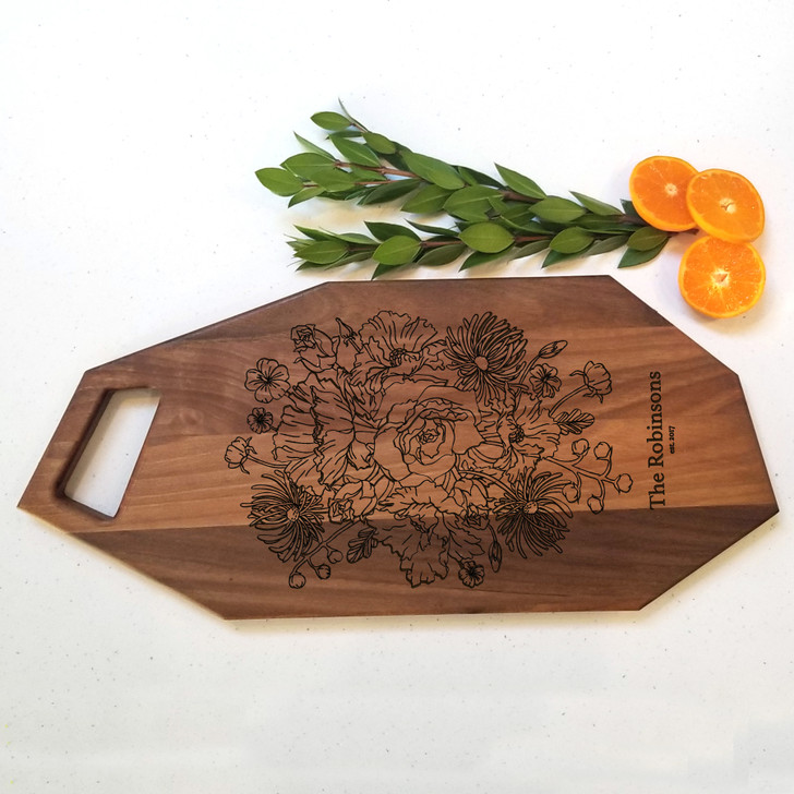 Personalized Last Name Floral Charcuterie Board - Wedding Gift, Engagement and Housewarming