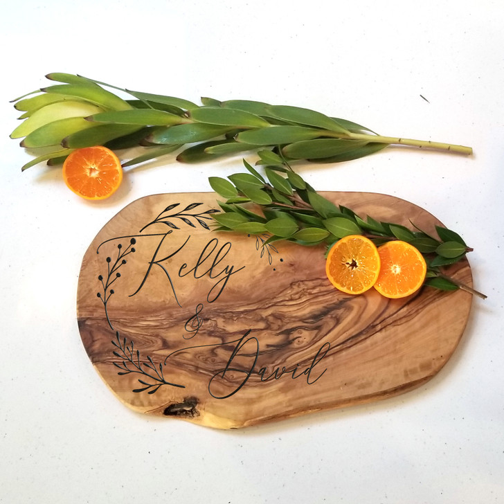 Couple Themed Laurel Charcuterie Board with Handle- Wedding Gift, Engagement and Housewarming