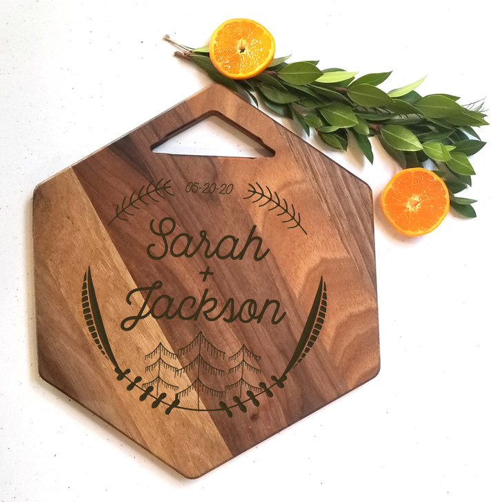 Couple Forest Themed Charcuterie Board - Wedding Gift, Engagement and Housewarming