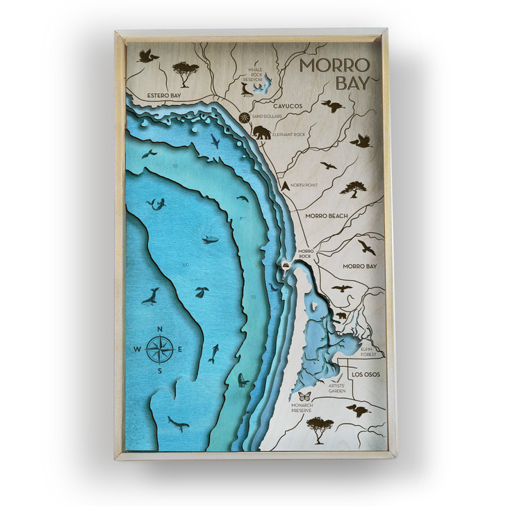 Morro Bay Topographic Layered Wooden Map