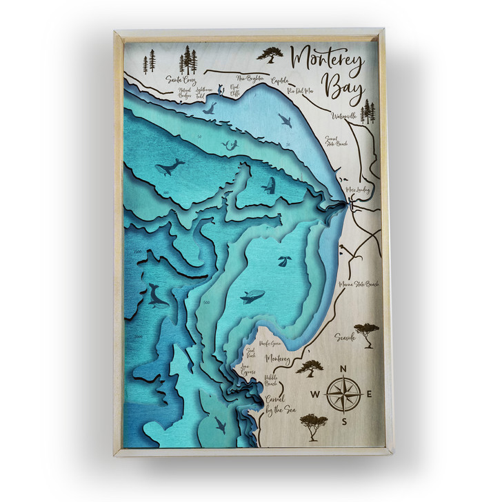 Monterey Bay Topographic Layered Wooden Map