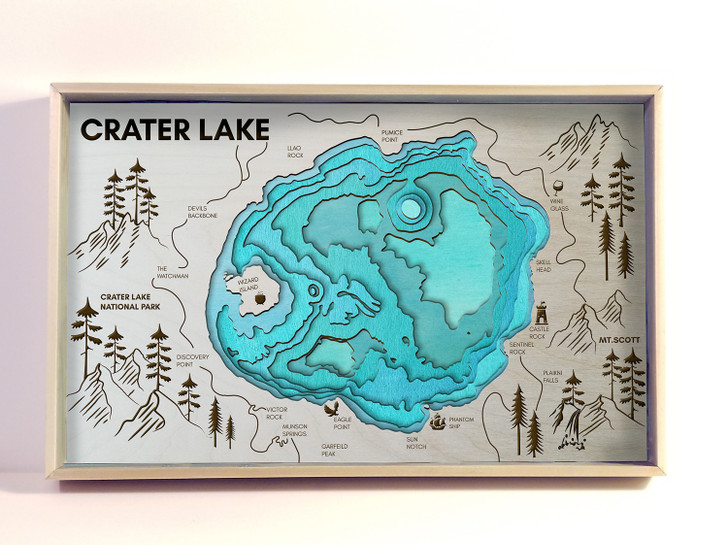 Crater Lake Topographic Layered Wooden Map