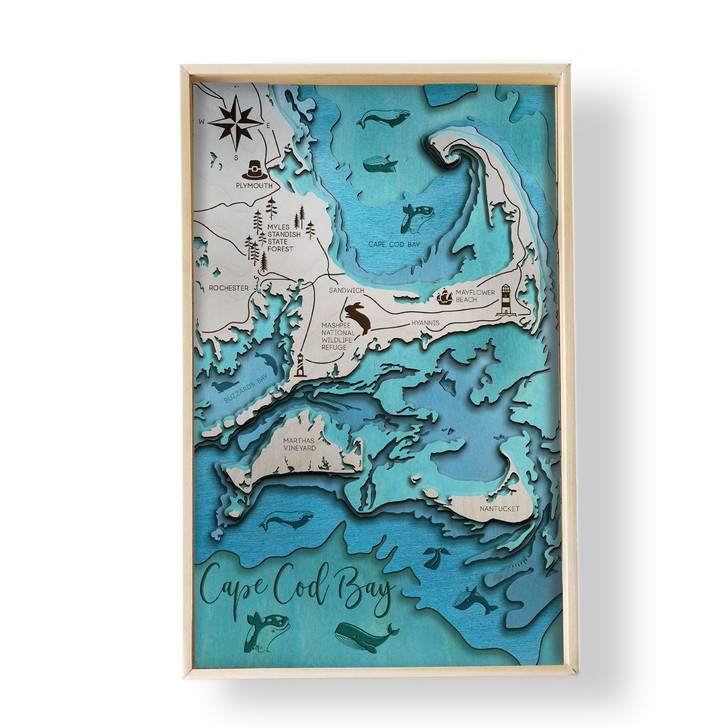 Cape Cod Topographic Layered Wooden Map