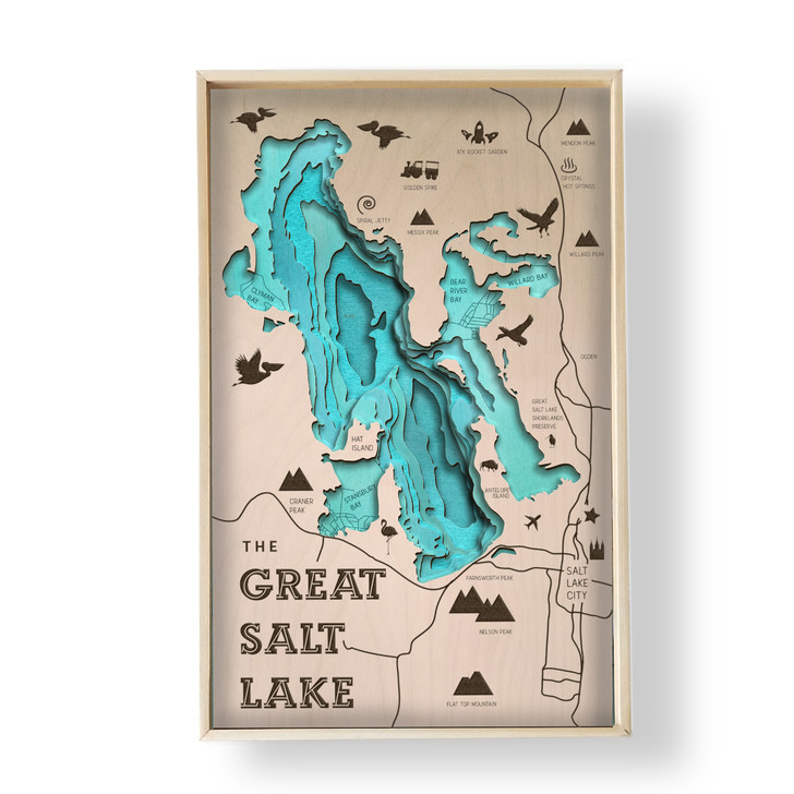 The Great Salt Lake Topographic Layered Wooden Map
