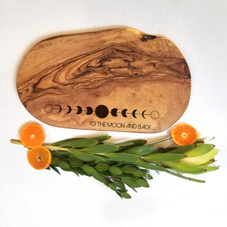 To the Moon and Back Charcuterie Board - Personalized Engraved Bread Board
