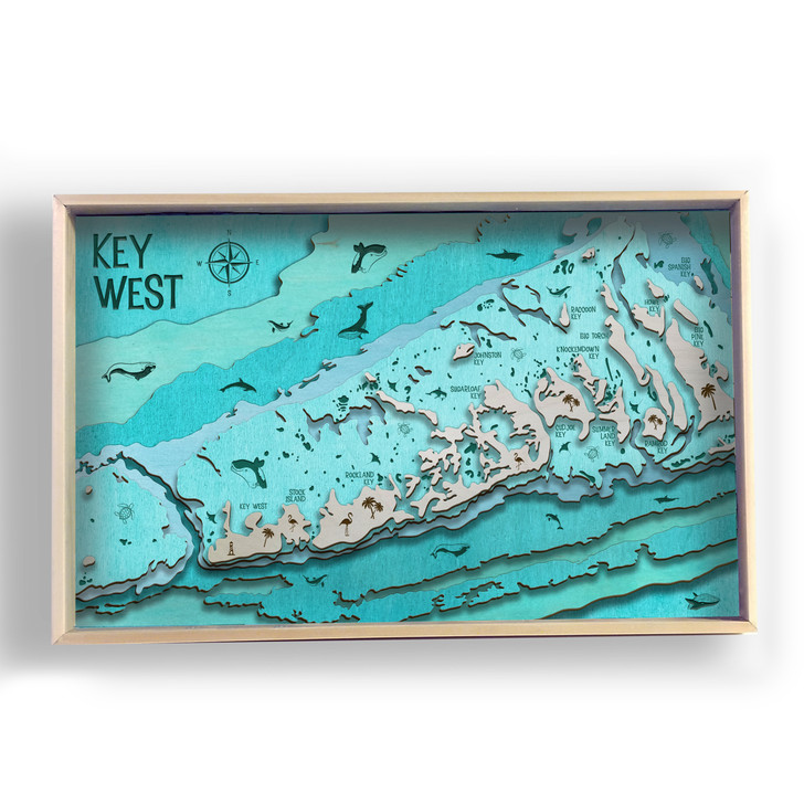 Key West Islands Topographic Layered Wooden Map
