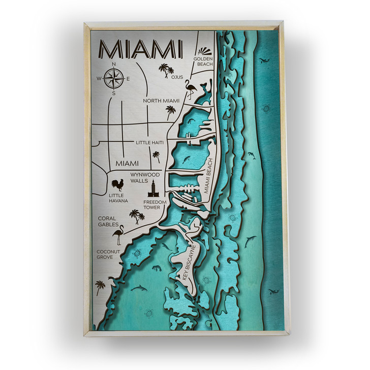 Miami Topographic Layered Wooden Map