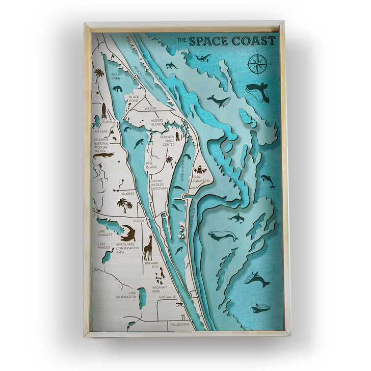 Space Coast ( Cape Canaveral ) Topographic Layered Wooden Map