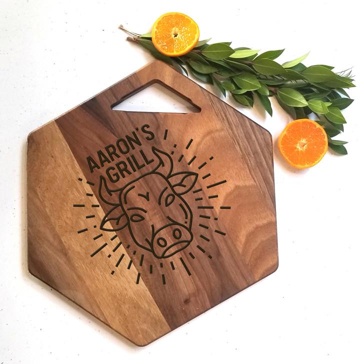 Personalized Grill Charcuterie Board - Personalized Engraved Bread Board
