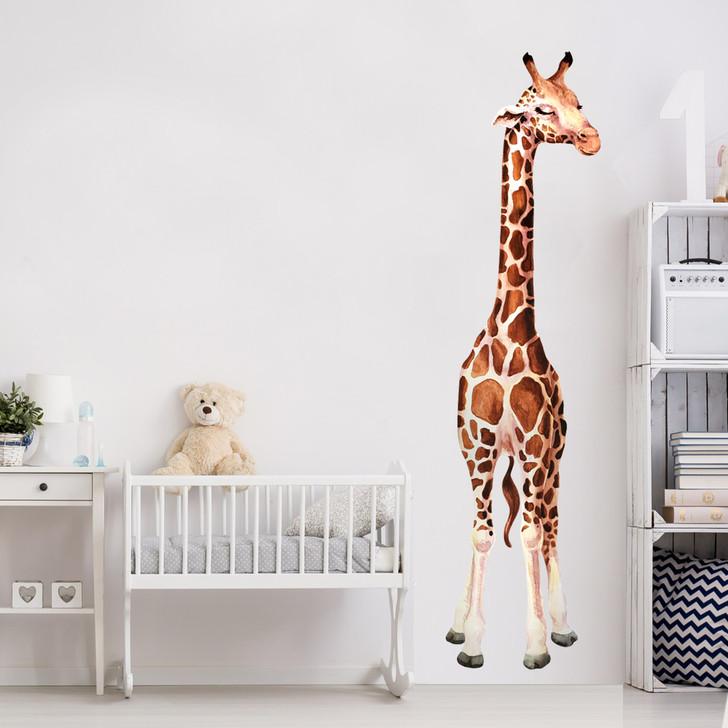 Tall Giraffe Watercolor Wall Decal Sticker Set