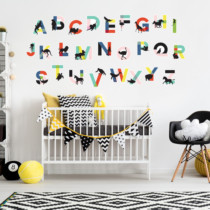 Alphabet and Animal Wall Decal Kit - Educational Wall Decal Sticker Kit
