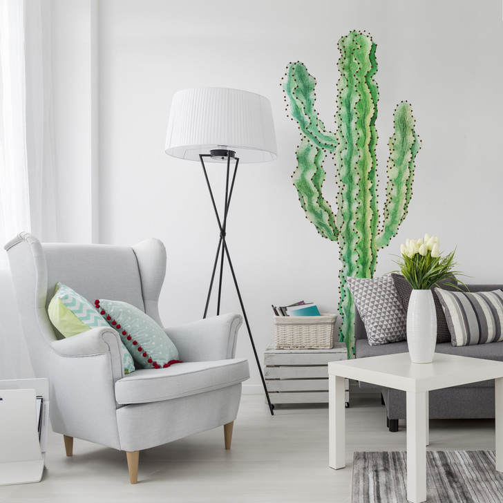 Tall Euphorbia Cactus Watercolor Wall Decal Sticker Mural