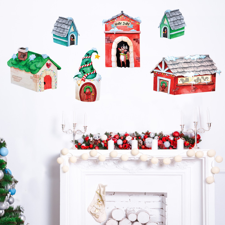 Holly Jolly Christmas Village Watercolor Wall Decal Sticker Kit