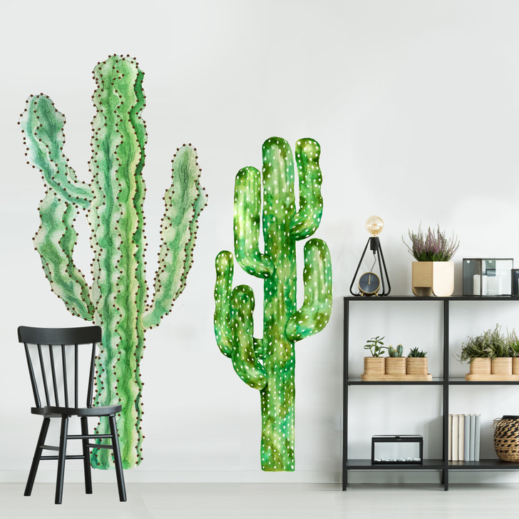 Pair of Cacti Watercolor Wall Decal Set