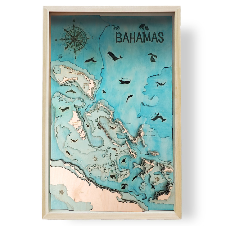 Bahamas Topographic Layered Wooden Map