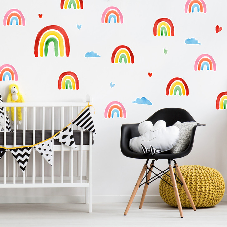 Rainbow Watercolor Wall Decal Kit