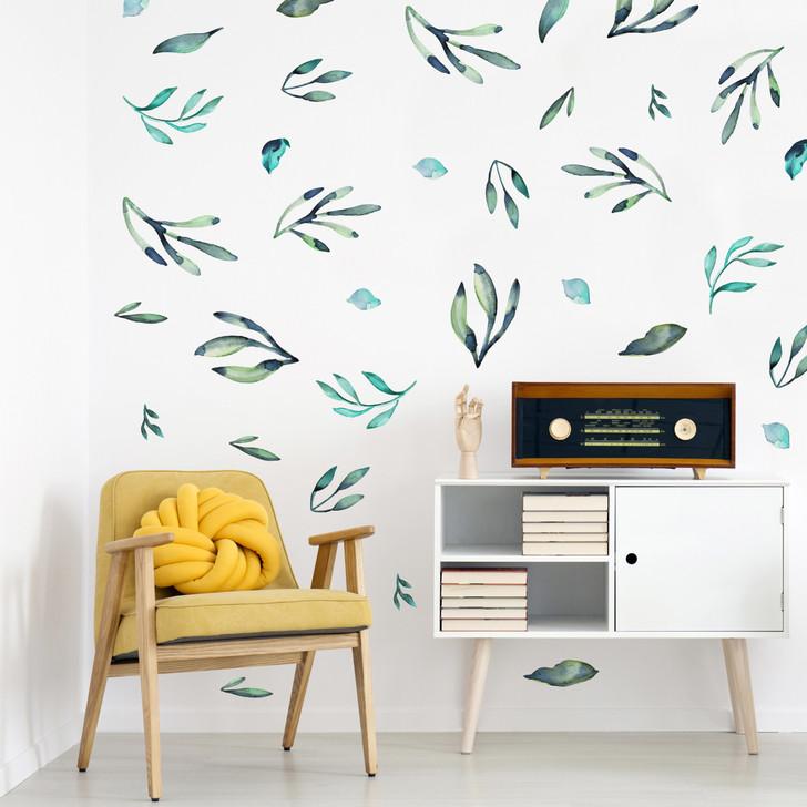 Indigo Watercolor Leaves Wall Decal Set