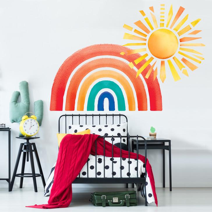 Retro Rainbow and Shining Sun Watercolor Wall Decal Bundle