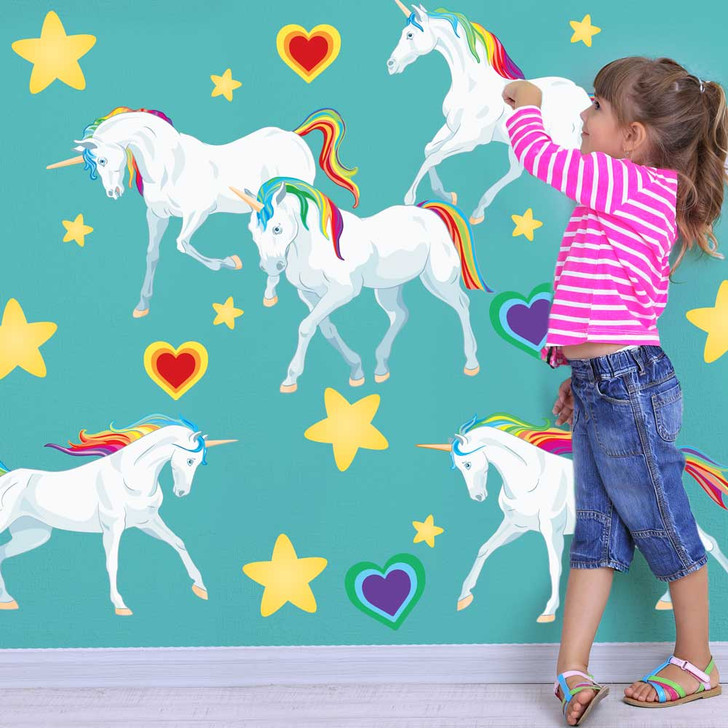 Rainbow Unicorn Wall Decal Set by Chromantics