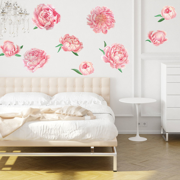 Pretty Pink Peonies Watercolor Wall Decal Kit by Chromantics